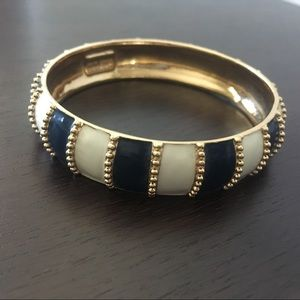 Kate Spade | Striped Navy Cream Gold Chunky Bangle